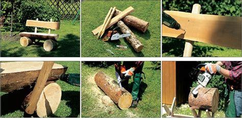diy decorative log bench home design garden architecture blog magazine