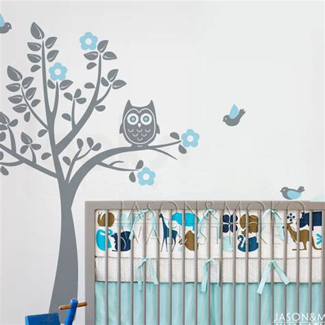 stickers hibou chambre bébé aliexpress com buy owl birds flowers wall sticker tree