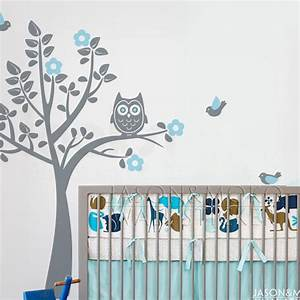 Owl Birds Flowers Wall Sticker Tree Decal Mural Wallpaper