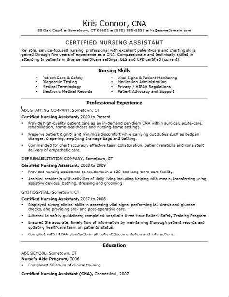 Exles Of Cna Resumes by Cna Certified Nursing Assistant Resume Sle Foto