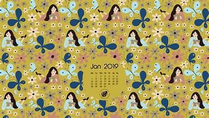 January Calendar Wallpapers Planner Happy Illustrated Desktop