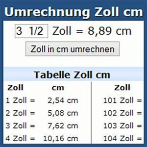 Cm In Zoll Berechnen : umrechnung zoll cm online ~ Themetempest.com Abrechnung