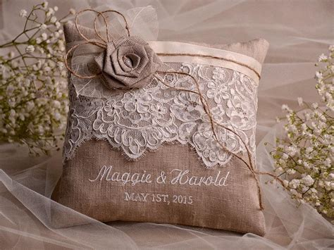 shabby chic ring bearer pillow lace wedding pillow ring bearer pillow embroidery names shabby chic natural linen 2404897