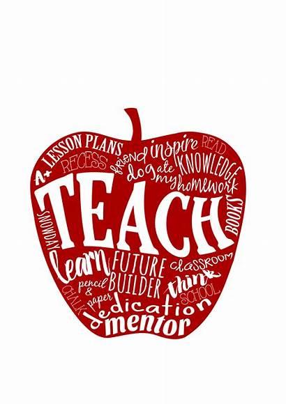 Teacher Apple Word Teach Gift 8x10 5x7