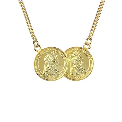 coins necklace travel two coin st christopher necklace www