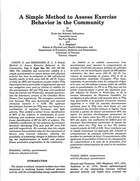 (pdf) A Simple Method To Assess Exercise Behavior In The Community