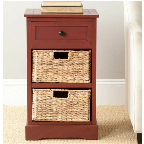 Nightstand With Baskets by Storage End Table Drawer 2 Baskets Wooden Nightstand