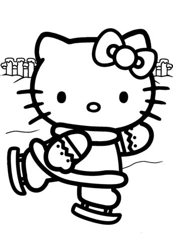 Hello Kitty Ice Skating coloring page Free Printable