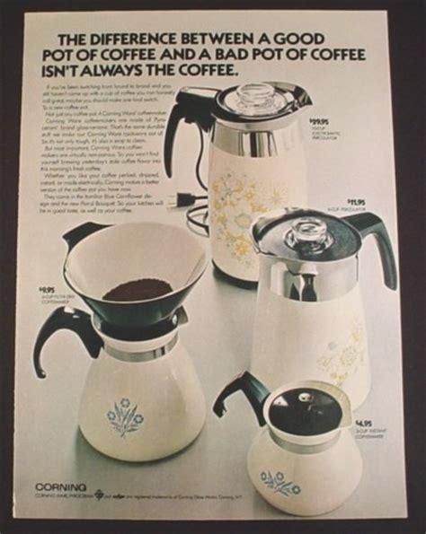 magazine ad  corning pyrex coffee pots  models