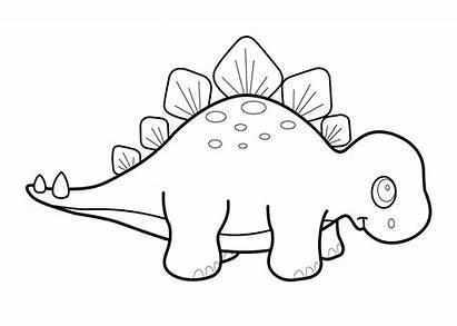 Cartoon Dinosaurs Drawing Dinosaur Coloring Stegosaurus Pages