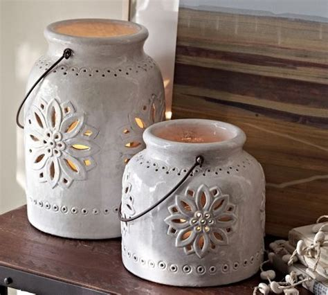 Punched Ceramic Lanterns   Pottery Barn   Pottery Barn