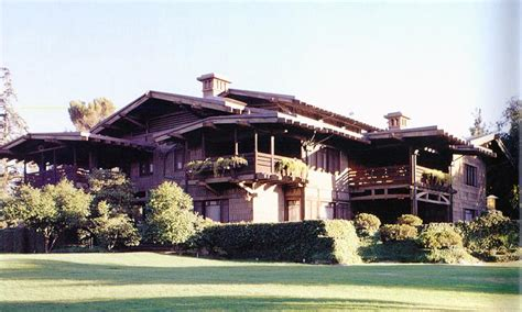 Wood, stone and brick, heavy trim, corbels, beams and tapered or squared entry. 1909 Craftsman Bungalow in Pasadena, California ...