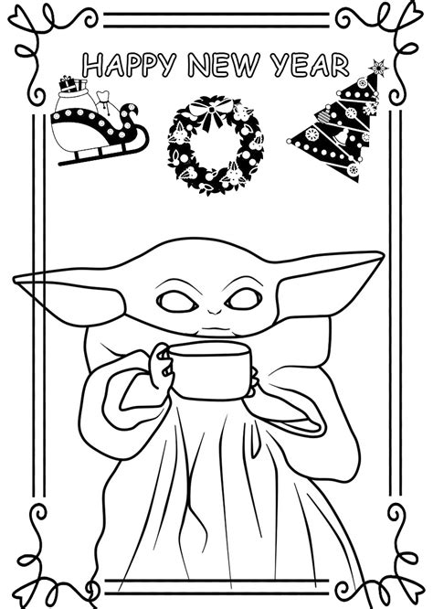 happy  year coloring pages   greeting cards coloring pages