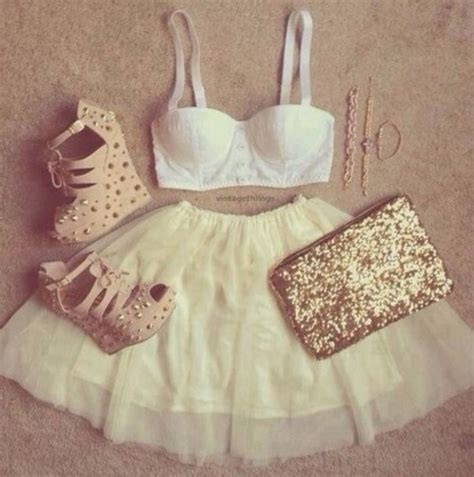 Skirt tumblr clothes girly gold studs heels white bra cute summer perfect party ...