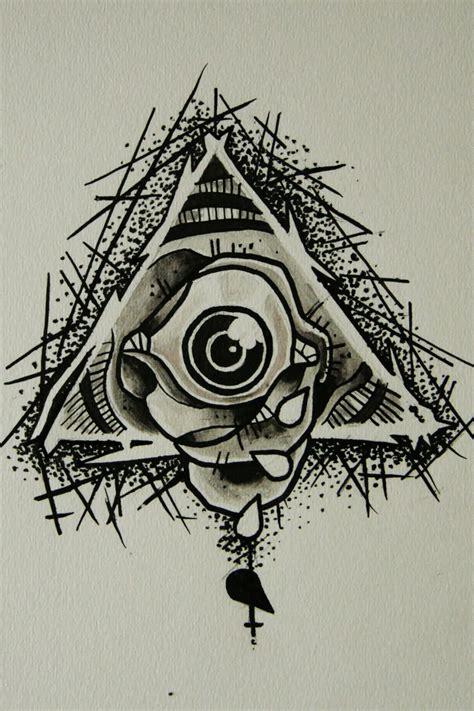 grey ink triangle eye tattoo design