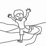 Coloring Running Boy Happy Child Horizon Hand Preview Illustration sketch template