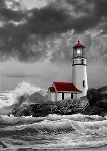 Oregon Lighthouse Cape Blanco In Black White And Red ...
