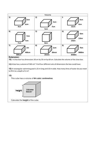 volume of 3d shapes cube cuboid math volume worksheets 3d shapes area perimeter