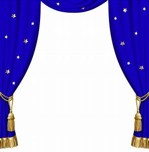 Transparent blue curtains with gold tassels and stars for Blue theatre curtains png