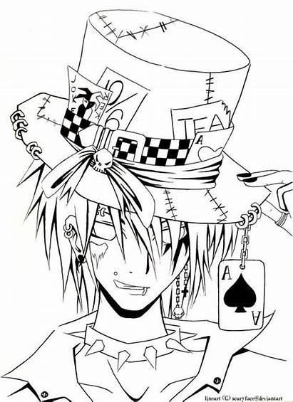 Pages Evil Anime Drawing Hatter Mad Coloring