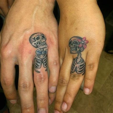 Beautiful Skeleton Couple Tattoos On Fingers