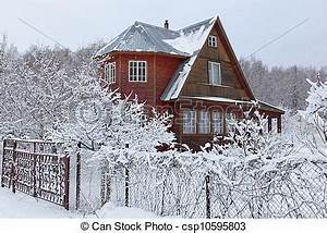 Lourd, campagne, maison, moscou, après, region., snowfall ...