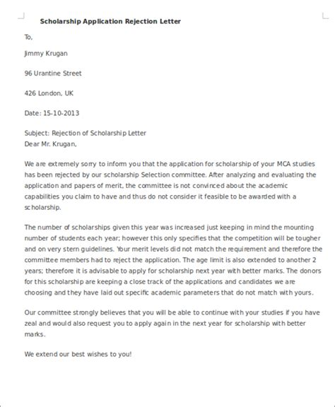 8 scholarship rejection letter free sle exle