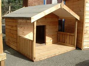 timber dog kennel with its own porch for the dogs With dog house with deck