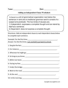 identifying  writing clauses worksheet  images