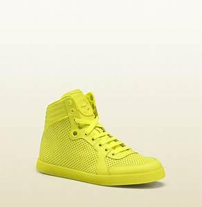 Gucci coda neon yellow leather sneaker DBL