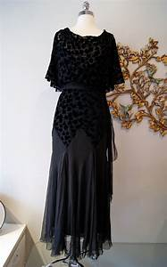 30s Dress / 1930s Evening Dress / Vintage 1930s Black Silk Cut
