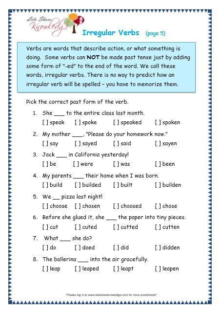 grade  grammar topic  irregular verbs worksheets