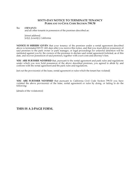 Notice To End Tenancy Template by California 60 Day Notice To Terminate Mobile Home Tenancy