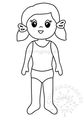 paper doll girl template coloring page