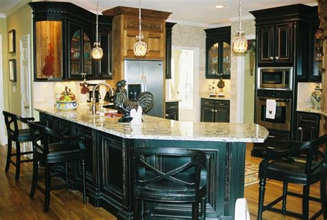rustic black kitchen cabinets distressed black kitchen from artisan design of 4961