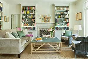 Green and gray living room with fireplace built ins for Green and grey living room
