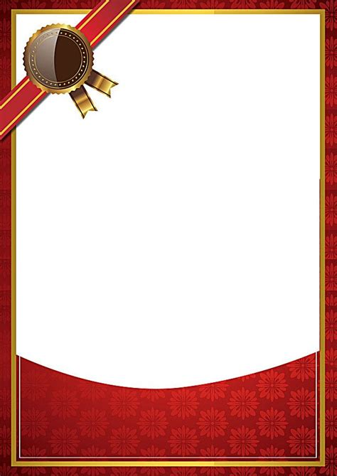 simple red background border certificate