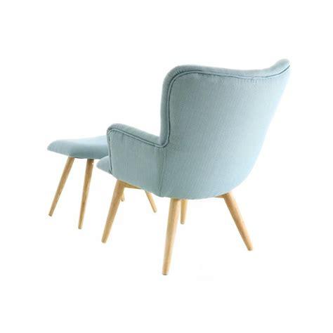 fauteuil scandinave en tissu avec repose pieds bleu stockholm