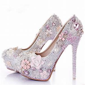 rhinestone flower pink wedding shoes stiletto heel 14cm With wedding dresses and shoes