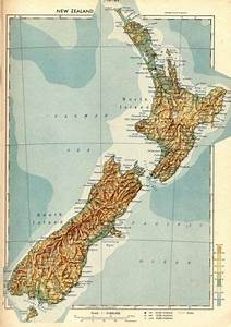 Vintage Map Print Of New Zealand