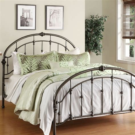 metal bed frame queen antique pewter steel headboard
