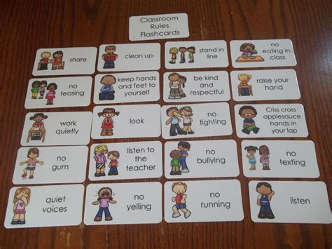 20 Classroom Rules Flash Cards Preschool Thru 4th Grade Behavior Flash Cards Ebay