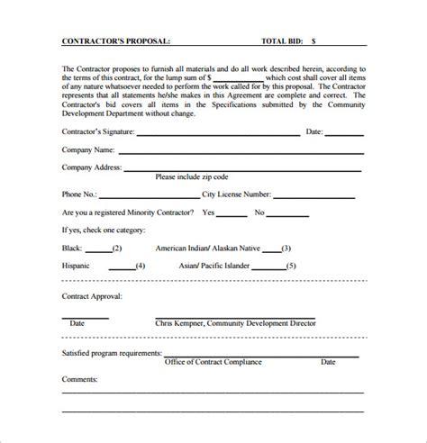 Contractors Bid Template bid templates 19 free word excel pdf