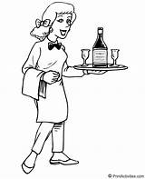 Waitress Waiter Template Coloring Pages Jobs Sketch sketch template