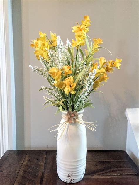 silk floral arrangement yellow wild flowers  white