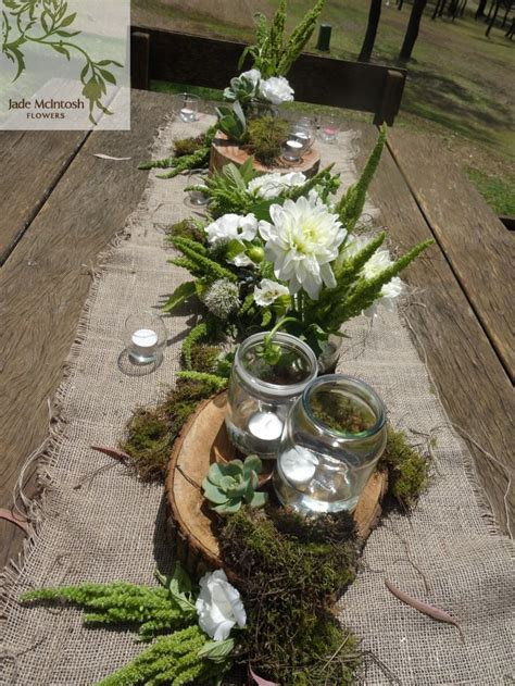 rustic outdoor reception  hessian table runners