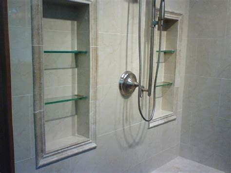 recessed shelves in shower for the home