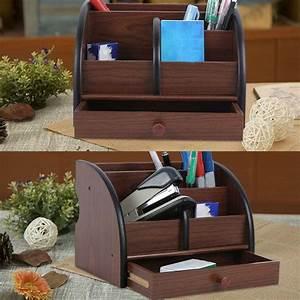 Desk, Organizer, Multi-functional, -, Brown, Black