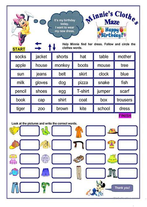 clothes maze worksheet  esl printable worksheets