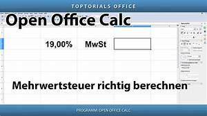 Open Office Summe Berechnen : mehrwertsteuer richtig berechnen umsatzsteuer openoffice calc toptorials ~ Themetempest.com Abrechnung